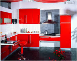 red kitchen cabinets with black glaze kitchen decoration