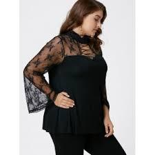 criss cross blouse black 5xl plus size criss cross see thru flare sleeve blouse