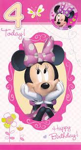 minnie mouse birthday disney minnie mouse age 4 birthday card with badge cardspark