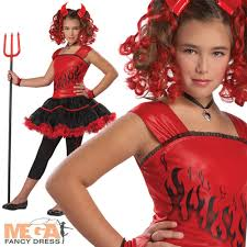 Halloween Costumes Girls 8 10 Girls Sassy Red Devil Halloween Fancy Dress Kids Costume Ages 6 7