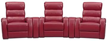 home theater recliner chairs bravo 5 piece power reclining home theater sectional red value