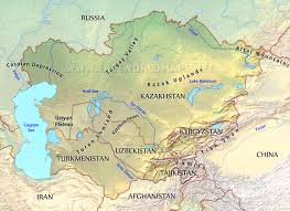 Political Map Asia by Central Asia Physical Map