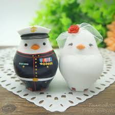 custom love bird marine corps wedding cake toppers military theme