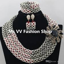 african crystal beads necklace images 2018 african jewelry sets red black crystal women necklace bridal jpg