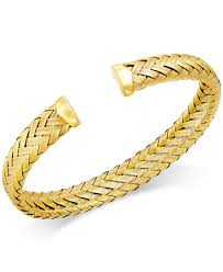 cuff bracelet with gold images Italian gold woven cuff bracelet in 14k gold over sterling silver tif