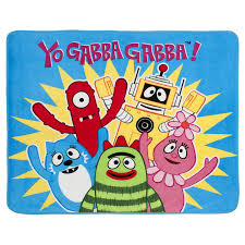 Yo Gabba Gabba Images by Amazon Com Yo Gabba Gabba Raise The Roof Fleece Throw Home U0026 Kitchen