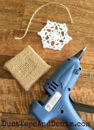 diy burlap and doily ornaments craft tutorial