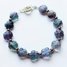 multi stone bracelet images Multi stone natural purple green fluorite semi precious flower jpg