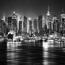 Photo Mural Wallpaper by New York City At Night Skyline View Black U0026 White Wallpaper Mural