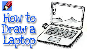 how to draw a laptop computer real easy youtube