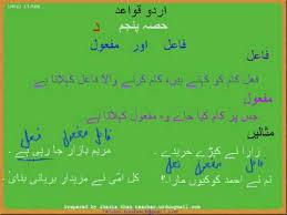 urdu collection fail aur mafool grammar