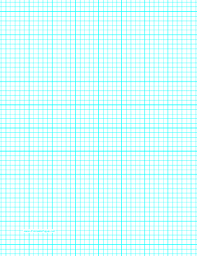 this letter sized graph paper has five aqua blue lines every inch