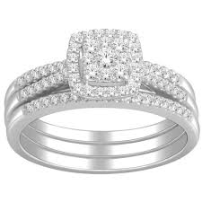 trio wedding sets 1 carat trio wedding ring set for in white gold jewelocean