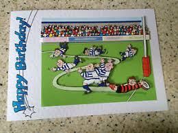handmade happy birthday card 3d decoupage humourous male rugby