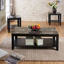 Hokku Designs Coffee Table Heisler 3 Piece Faux Marble Top And Wooden Frame Table Set With