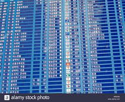 flight departure board in korean incheon international airport