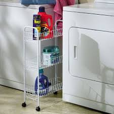 Laundry Room Storage Cart 3 Tier Laundry Cart On Wheels Slim Kitchen Cart Rolling Storage