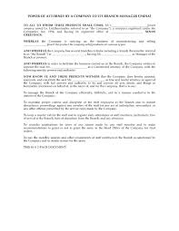 Power Of Attorney Templates by India General Power Of Attorney From Company To Branch Manager