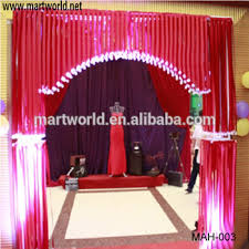 wedding backdrop material whole sale fibric and metal material wedding stage decoration