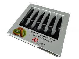 couteaux steak laguiole coffret 6 couteaux à steak pradel lames anti adhérentes noires