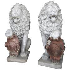 lions statues exceptional pair of antique architectural cement lion garden