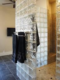 glass block shower like the towel bar in block