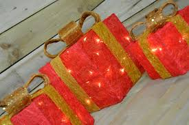 set of 3 pre lit parcels presents in and gold ebay