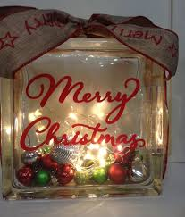 merry christmas glass block with lights and ornaments christmas