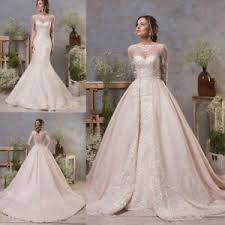 wedding dress with detachable wedding dresses detachable sleeves mermaid bridal