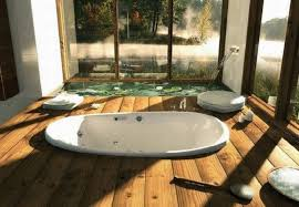 fancy japanese style bathroom design with wooden floor and