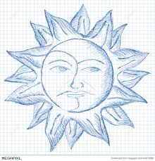 sun and moon face sketch illustration 44876388 megapixl