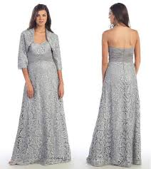 silver dresses for wedding silver lace of the dresses with jacket 5x plus size