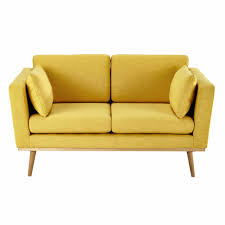 Yellow Sofa Bed 2 Seater Fabric Sofa In Yellow Timeo Maisons Du Monde