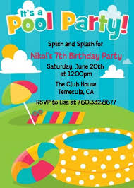 pool party birthday invitations pool party invitation 24 fill in