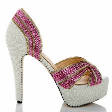 wedding shoes cork genuine leather women rhinestone sandals fashion pink