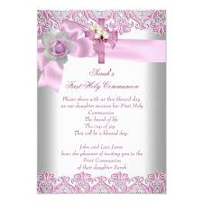 holy communion 1st cross white pink card zazzle