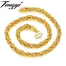 colored chain link necklace images Buy tengyi hiphop curb cuban gold color filled jpg