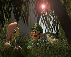 fluttershy and luigi a willow tree by d0ntst0pme on deviantart