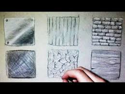 drawing time lapse 6 different textures wood metal stone