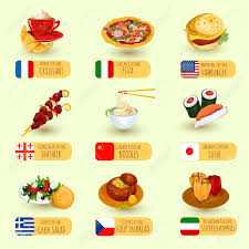 cuisine illustration food international cuisine decorative icons set with pizza