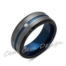 wedding rings men blue tungsten wedding band gray brushed tungsten ring 8mm