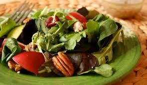 fall favorite mixed green salad with pear and pecans