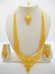 gold har set 22ct gold plated designer wedding indian necklace earring ring