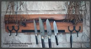 hand made oak magnetic knife rack reclaimed wood knife block by