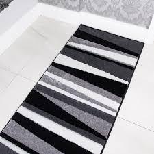 Striped Runner Rug Modern Black U0026 Grey Striped Hall Runner Rug Rio Kukoon