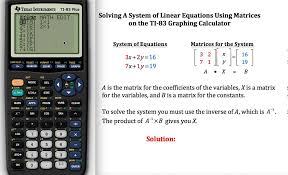 this demonstrates how to use matrices to solve a system of linear equations on a graphing calculator