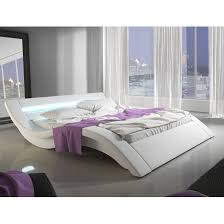 Led Bed Frame Designer King Size Bed In White Pu With Multi Led King