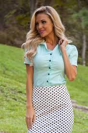 aqua button up blouse modest top affordable boutique clothes