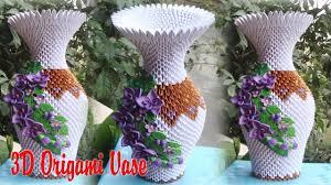 Origami 3d Flower Vase 3d Origami Vase V2 V7 Paper Vase Handmade Decoration Youtube