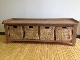 Large Storage Bench 60 Oak Wood Storage Bench With Cubbies For Shoes Or Large Baskets